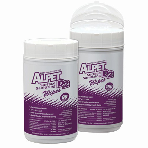 Alpet D-2 No-Rinse Surface Sanitizer Wipes