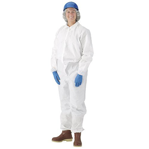 Heavy weight white disposable coveralls.