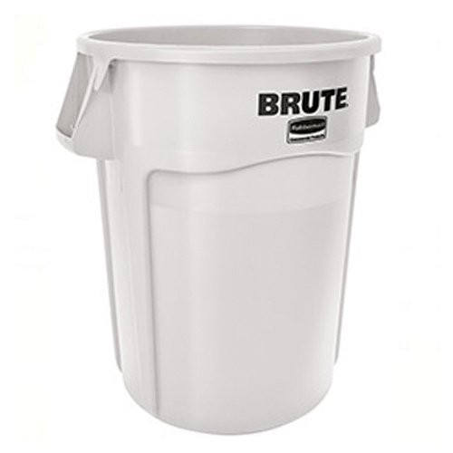 White, 55-Gallon Round Drum with Venting Channels