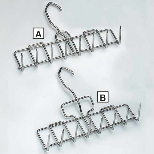 Stainless Steel Bacon Hangers. Item A - Without Grip. Item B - With Grip
