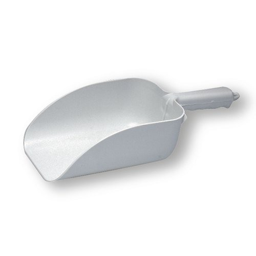 White plastic scoop is made of sanitary, seamless injection molded white poly.