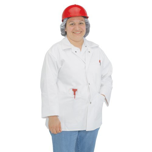 An easy-care cotton butcher jacket for food production areas.
