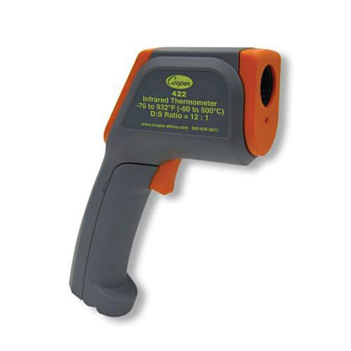 Infrared thermometer with 8-point Class II Laser is always enabled while measuring.