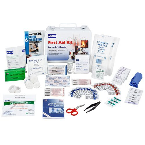 #25 First Aid Kit, Class A with Steel Water-resistant case with handle/hanging bracket.