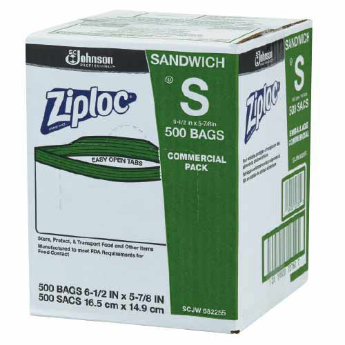 Ziplock Sandwich Bags are packaged in a convenient self-dispensing bulk carton.