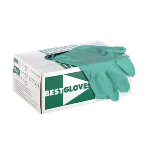 Box of SHOWA 1005 Green 5-mil. Latex Disposable Gloves
