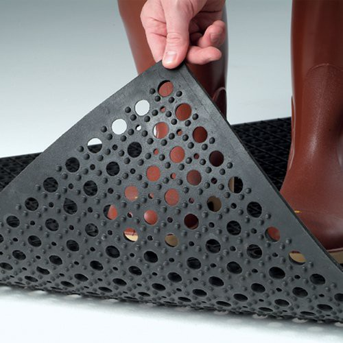 Raised blocks on underside of mat allow water to flow easily for quick clean up.