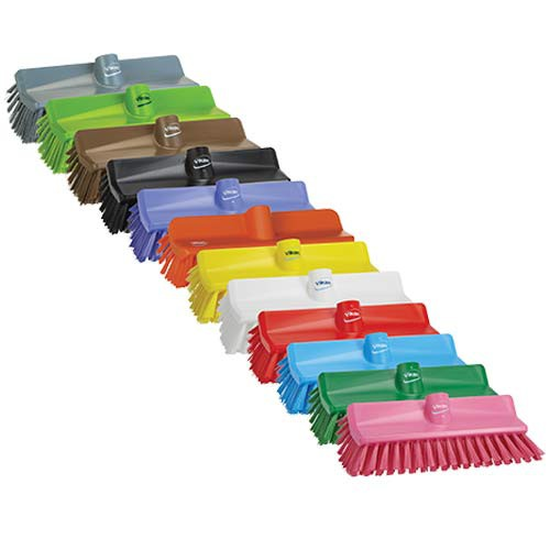 Vikan Color-Coded High-Low Floor Brushes are available in a variety of colors.