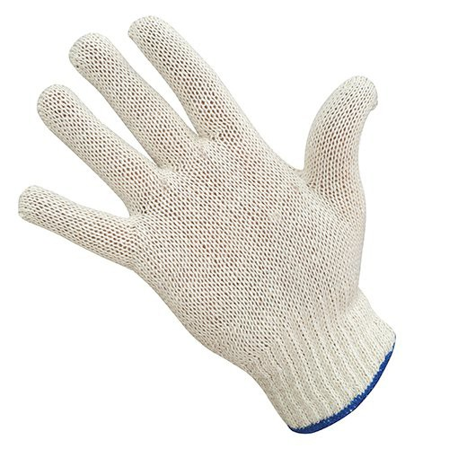 Economy Knit Gloves with Blue Wrist Cuff Edge.