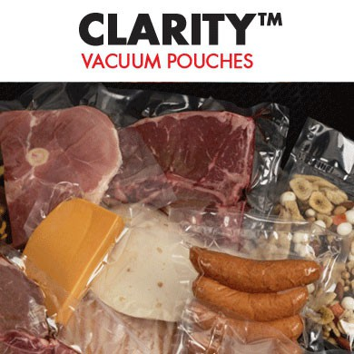 Clarity 5-Mil. Vacuum Pouches are crystal clear with a glossy finish.