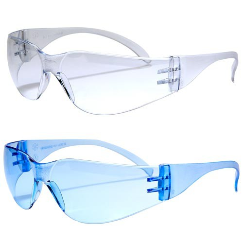 Workhorse safety glasses are available in clear or blue.