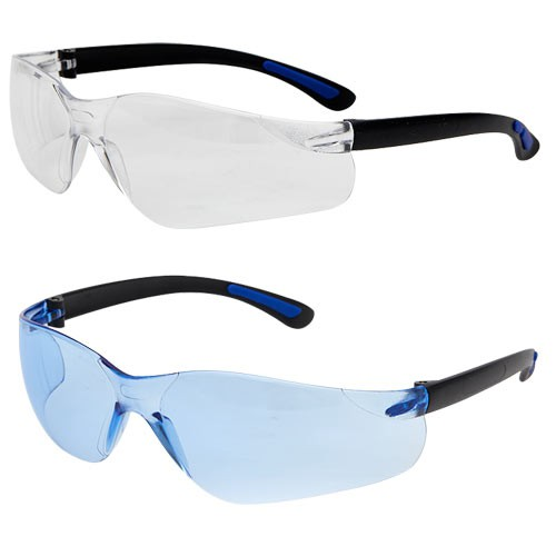 Blue, flexible temples are designed for the food processing industry and help provide a secure fit.