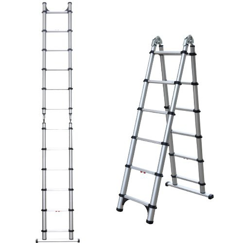 Combination Extension A-Frame Ladder retracts down to a convenient 2.6 ft. height and weighs only 30-lbs.