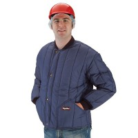 Insulated cooler jacket features insulated hand warmer pockets.