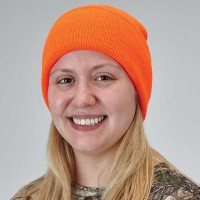 Safety orange watch cap is ideal for game season.