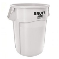 White, 55-Gallon Round Brute Drum with Venting Channels