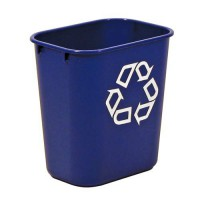"Blue bin is imprinted with the ""Recycle'' logo."