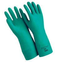 """Ansell Sol-vex 15-Mil. Flock-Lined, 13"""" Straight Cuff Nitrile Gloves"""