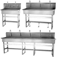 Stainless Steel Floor-Mount Wash Stations are available in a variety of sizes.