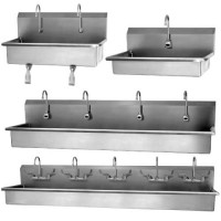 Stainless Steel Wall-Mount Wash Stations are available in multiple sizes.