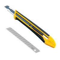 Rubber grip utility knife features an anti-slip cushion grip for exceptional comfort and safety.