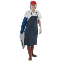 Cotton bib aprons  feature a sewn neck band.