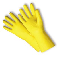 Size 9, 18-Mil. Yellow Latex-Coated Flocked Gloves