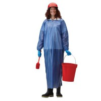 Blue vinyl coat apron provides extra protection from grease, oil and fat.