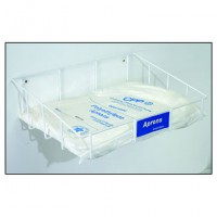 Space saving tray holds bagged and boxed aprons, and does not collect dust or dirt.