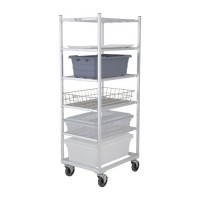 6-Shelf Aluminum Universal Rack pictured. This rack is ideal for transporting various sized platters, trays, boxes and totes.