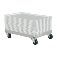 Platters can be stored and moved easily with aluminum dolly.