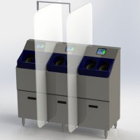 3-Bay, Free-Standing CleanTech 4000S Automated Handwashing Station is available with or without social separation panels.
