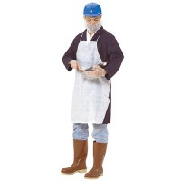 Poly coated disposable apron is ideal for grimy, non-hazardous work environments.