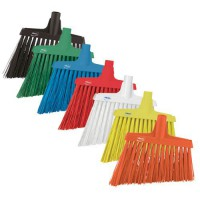 Vikan color-coded angle cut brooms are available in 7 colors.