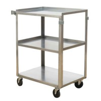 "Stainless Steel Service Cart - 15.5"" x 24"" - 300-lb. Capacity"