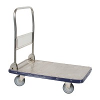 Wesco Stainless Steel Platform Truck with Handle Upright.