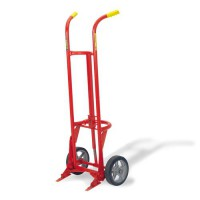 "Hand Truck featues self-standing, heavy-duty, 1"" structural pipe frame."