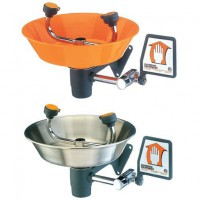 Eye Wash Station is available in orange plastic or stainless steel.