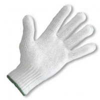 Medium weight Knit Glove, White with Green Wrist Cuff Edge