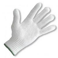 Medium weight Knit Glove, White with Green Wrist Cuff Edge