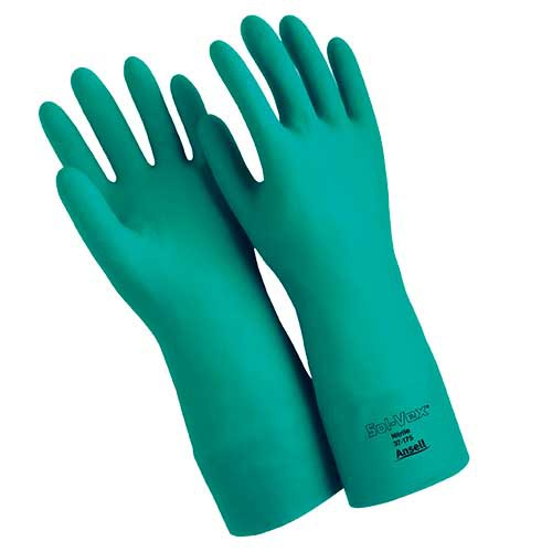 Ansell Sol-vex 15-Mil. Flock-Lined, 13-Inch Straight Cuff Nitrile Gloves