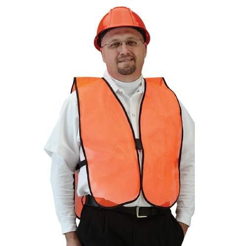 Orange, High Visibility Solid Mesh Vest