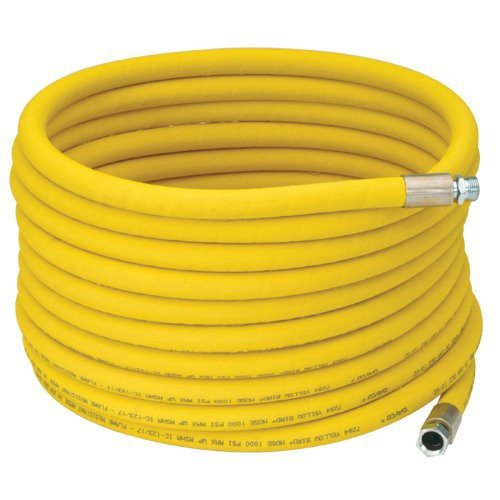 """3/4"""" I.D. Wrapped Reinforced Yellow Hot Water Washdown Hose"""