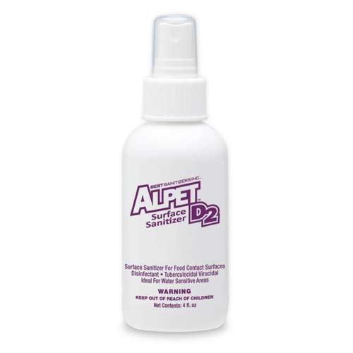 Alpet D-2 No-Rinse Surface Sanitizer - 4-Ounce Bottle