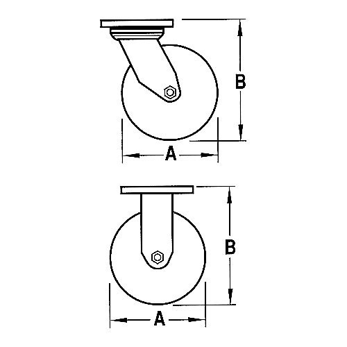 A - Wheel Diameter B - OA Height