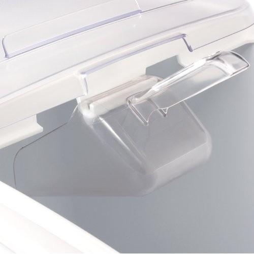 Scoop handle is held out of ingredient bin preventing cross-contamination.
