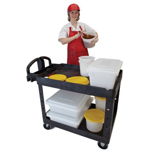 Heavy-Duty Utility Cart can hold multiple sized food boxes, and storage containers.