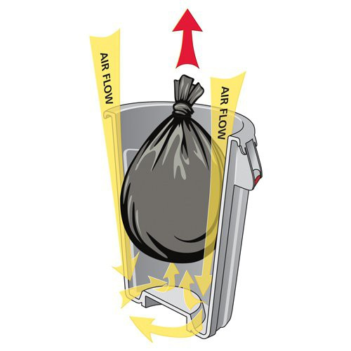 Four patent-pending venting channels dramatically reduce the force required to remove a full can liner.
