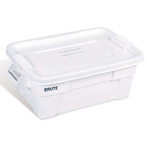 White, 14-Gal. Super-Duty Brute Tote with Lid