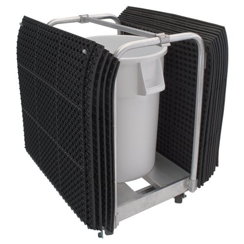 "Aluminum Floor Mat Clean-up Cart shown with 36"" x 36"" mats and 44-gallon drum (sold separately)."